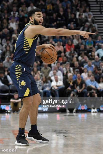 Cory Joseph of the Indiana Pacers directs a play during a game against the Utah Jazz at Vivint Smart Home Arena on January 15 2018 in Salt Lake City...