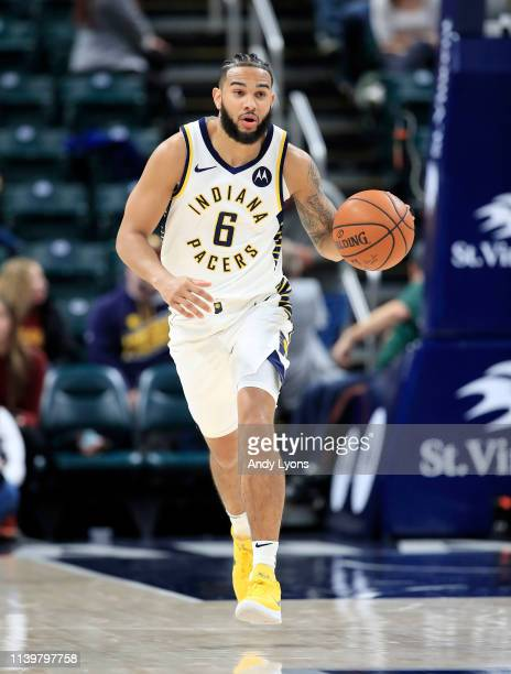Cory Joseph of the Indiana Pacers dribbles the ball against the Detroit Pistons at Bankers Life Fieldhouse on April 01 2019 in Indianapolis Indiana...
