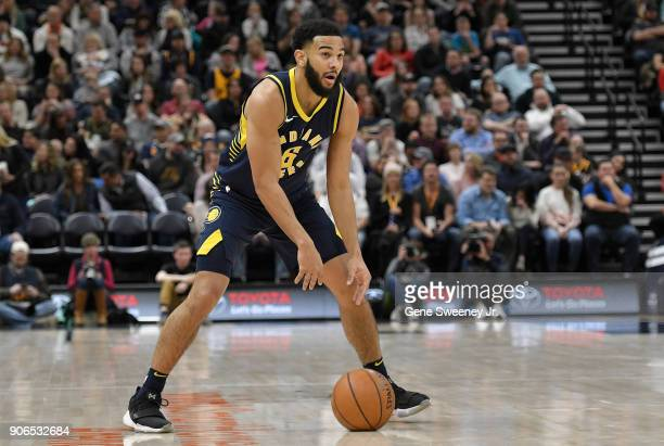 Cory Joseph of the Indiana Pacers dribbles the ball during a game against the Utah Jazz at Vivint Smart Home Arena on January 15 2018 in Salt Lake...