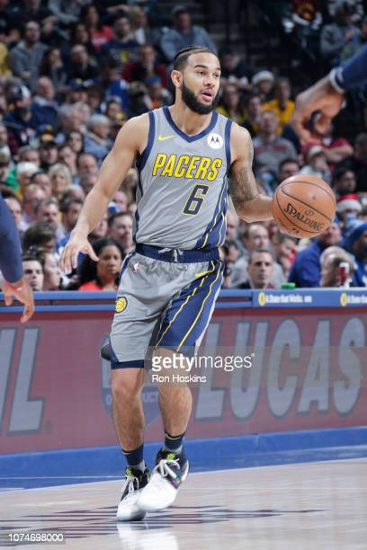 Cory Joseph of the Indiana Pacers dribbles the ball during the game against the Washington Wizards on December 23 2018 at Bankers Life Fieldhouse in...