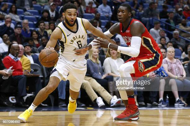 Cory Joseph of the Indiana Pacers drives against Cheick Diallo of the New Orleans Pelicans during the second half at the Smoothie King Center on...