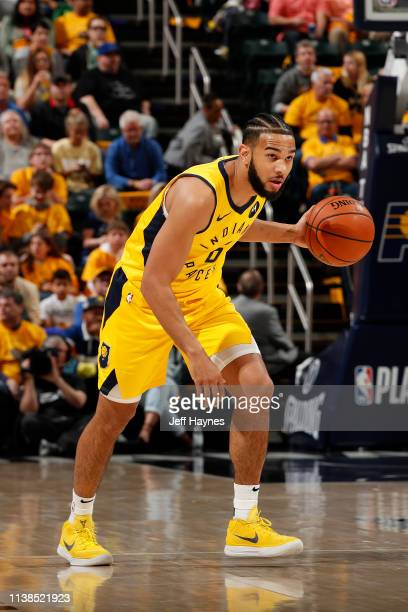 Cory Joseph of the Indiana Pacers handles the ball against the Boston Celtics during Game Four of Round One of the 2019 NBA Playoffs on April 21 2019...