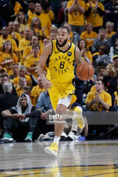 Cory Joseph of the Indiana Pacers handles the ball against the Boston Celtics during Game Three of Round One of the 2019 NBA Playoffs on April 19...