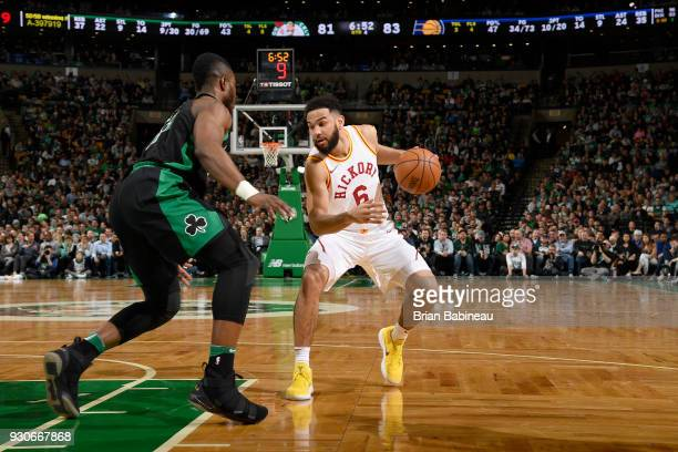 Cory Joseph of the Indiana Pacers handles the ball against the Boston Celtics on March 11 2018 at the TD Garden in Boston Massachusetts NOTE TO USER...