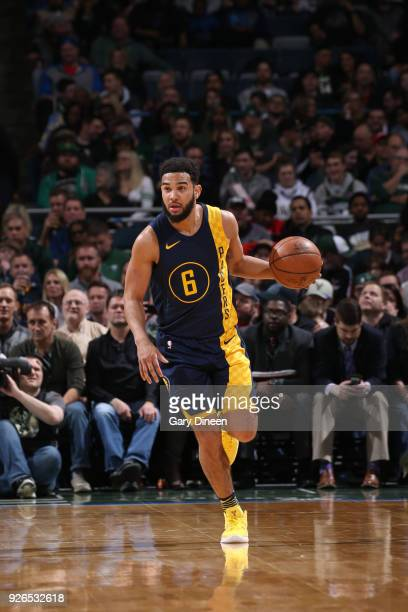 Cory Joseph of the Indiana Pacers handles the ball against the Milwaukee Bucks on March 2 2018 at the BMO Harris Bradley Center in Milwaukee...
