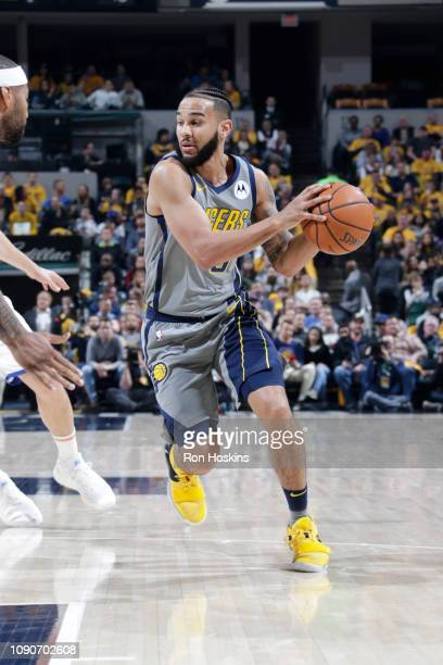 Cory Joseph of the Indiana Pacers handles the ball against the Golden State Warriors on January 28 2019 at Bankers Life Fieldhouse in Indianapolis...