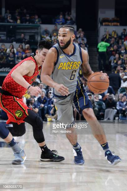 Cory Joseph of the Indiana Pacers handles the ball against the Atlanta Hawks on November 17 2018 at Bankers Life Fieldhouse in Indianapolis Indiana...