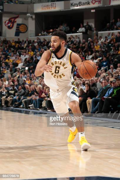 Cory Joseph of the Indiana Pacers handles the ball against the Los Angeles Lakers on March 19 2018 at Bankers Life Fieldhouse in Indianapolis Indiana...
