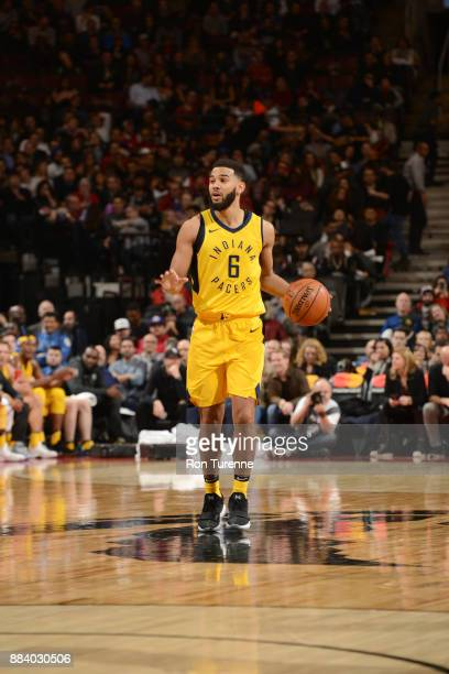 Cory Joseph of the Indiana Pacers handles the ball against the Toronto Raptors on December 1 2017 at the Air Canada Centre in Toronto Ontario Canada...