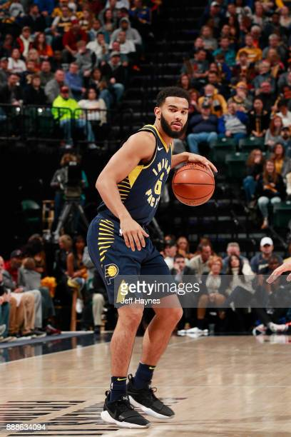 Cory Joseph of the Indiana Pacers handles the ball against the Cleveland Cavaliers on December 8 2017 at Bankers Life Fieldhouse in Indianapolis...