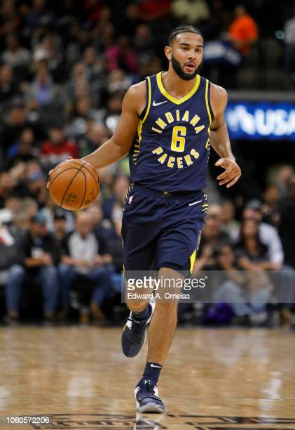 Cory Joseph of the Indiana Pacers heads up court during an NBA game against the San Antonio Spurs on October 24 2018 at the ATT Center in San Antonio...