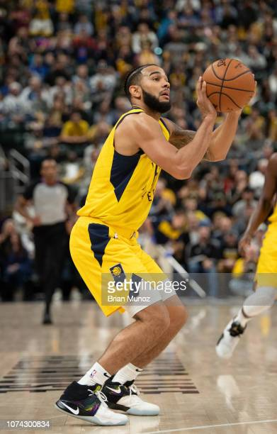 Cory Joseph of the Indiana Pacers lines up his shot during the second half of the game against the New York Knicks at Bankers Life Fieldhouse on...
