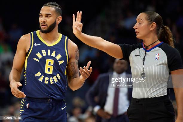 Cory Joseph of the Indiana Pacers looks on as referee Ashley MoyerGleich calls him for a foul on a threepoint shot by Minnesota Timberwolves during...