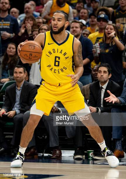 Cory Joseph of the Indiana Pacers looks to pass the ball during a game against the New York Knicks at Bankers Life Fieldhouse on December 16 2018 in...