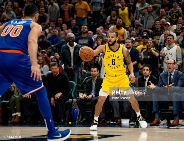Cory Joseph of the Indiana Pacers looks to pass the ball during the second half of the game against the New York Knicks at Bankers Life Fieldhouse on...