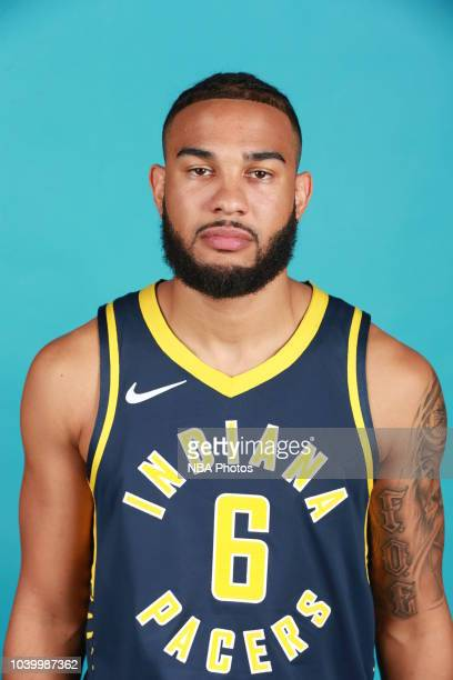 Cory Joseph of the Indiana Pacers poses for a head shot during the Indiana Pacers Media Day on September 24 2018 in Indianapolis Indiana NOTE TO USER...