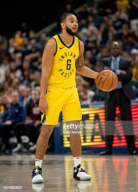 Cory Joseph of the Indiana Pacers pushes the ball up the court during the second half of the game against the New York Knicks at Bankers Life...