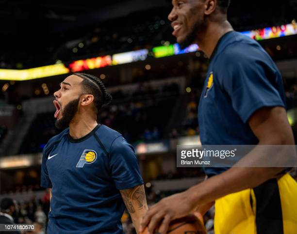 Cory Joseph of the Indiana Pacers reacts after making a basket before the game against the New York Knicks at Bankers Life Fieldhouse on December 16...