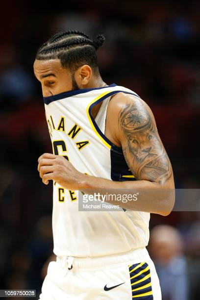 Cory Joseph of the Indiana Pacers reacts against the Miami Heat during the second half at American Airlines Arena on November 9 2018 in Miami Florida...
