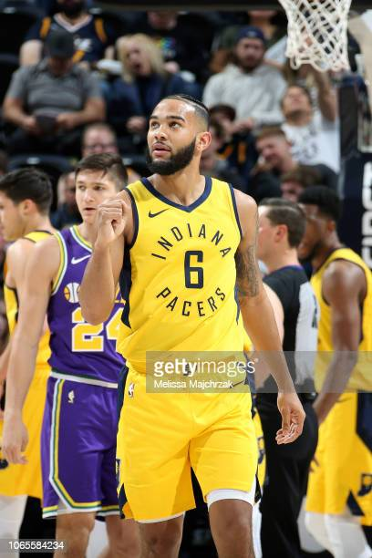 Cory Joseph of the Indiana Pacers reacts to a play during the game against the Utah Jazz on November 26 2018 at vivintSmartHome Arena in Salt Lake...