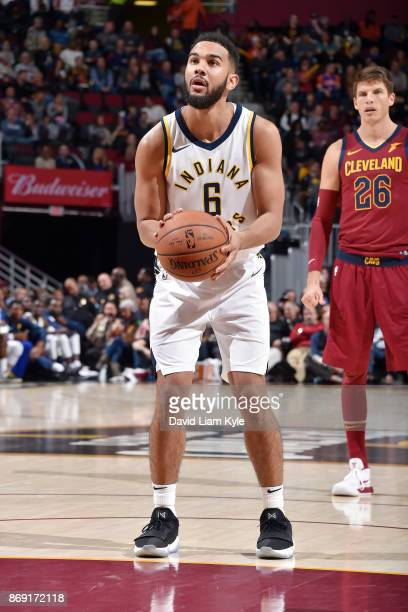 Cory Joseph of the Indiana Pacers shoots the ball against the Cleveland Cavaliers on November 1 2017 at Quicken Loans Arena in Cleveland Ohio NOTE TO...