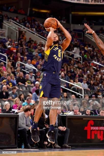 Cory Joseph of the Indiana Pacers shoots the ball against the Phoenix Suns on January 14 2018 at Talking Stick Resort Arena in Phoenix Arizona NOTE...