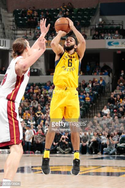 Cory Joseph of the Indiana Pacers shoots the ball during the game against the Miami Heat on January 10 2018 at Bankers Life Fieldhouse in...