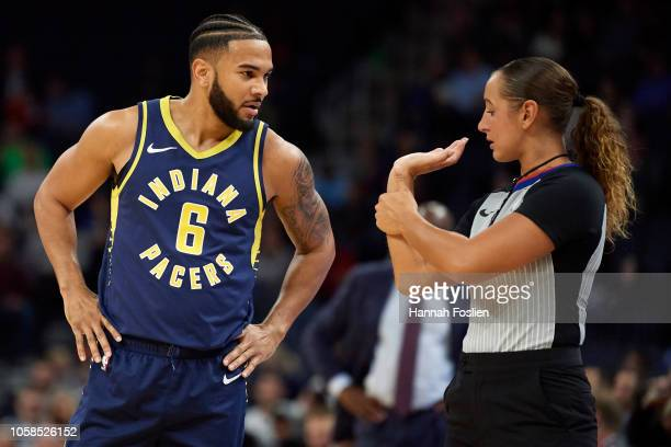 Cory Joseph of the Indiana Pacers speaks with referee Ashley MoyerGleich after he was called for a foul on a threepoint shot by Minnesota...