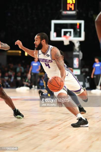 Cory Joseph of the Sacramento Kings handles the ball against the Indiana Pacers on October 4 2019 at NSCI Dome in Mumbai India NOTE TO USER User...