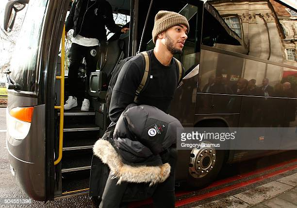 Cory Joseph of the Toronto Raptors arrives at the hotel as part of 2016 London Global Games on January 11 2016 at JW Marriott Grosvenor House in...