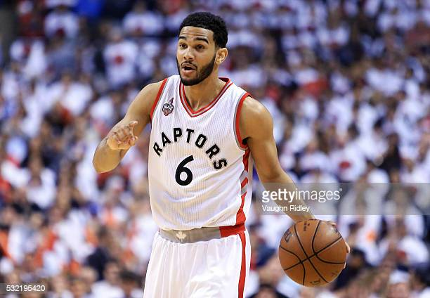 Cory Joseph of the Toronto Raptors dribbles the ball in the first half of Game Seven of the Eastern Conference Quarterfinals against the Miami Heat...