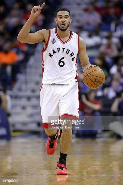 Cory Joseph of the Toronto Raptors drives with the ball during a game at the Smoothie King Center on March 26 2016 in New Orleans Louisiana NOTE TO...