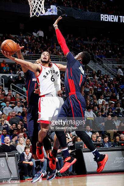 Cory Joseph of the Toronto Raptors goes for the layup during the game against the Detroit Pistons on February 28 2016 at The Palace of Auburn Hills...