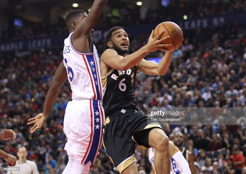 Cory Joseph #6 of the Toronto Raptors goes up to the basket against Alex Poythress #5 of the Philadelphia 76ers during NBA game action at Air Canada Centre on April 2, 2017 in Toronto, Canada.
