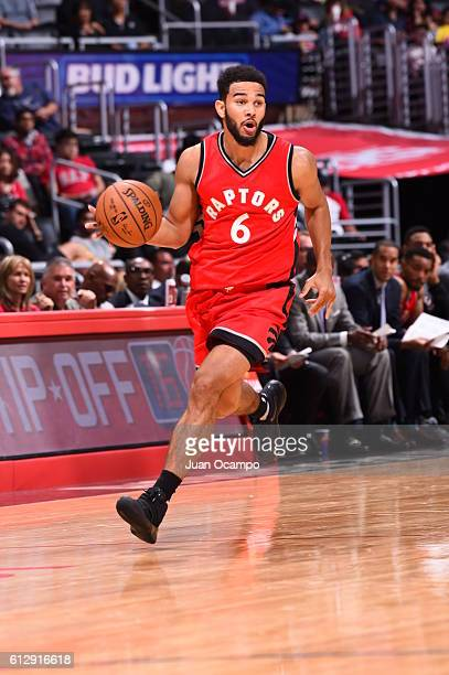 Cory Joseph of the Toronto Raptors handles the ball against the Los Angeles Clippers on October 5 2016 at STAPLES Center in Los Angeles California...
