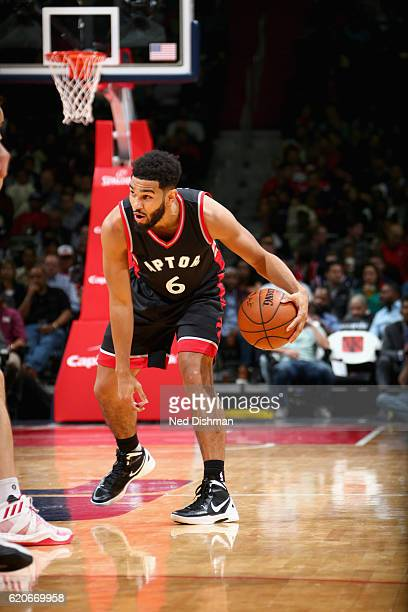 Cory Joseph of the Toronto Raptors handles the ball against the Washington Wizards on November 2 2016 at Verizon Center in Washington DC NOTE TO USER...