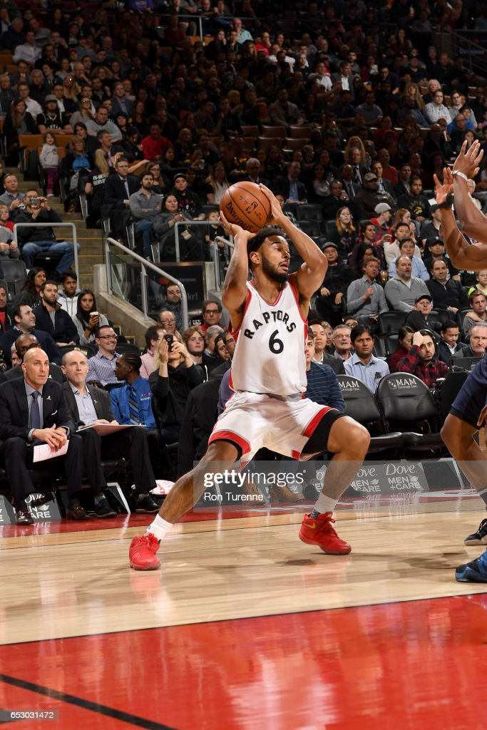Cory Joseph #6 of the Toronto Raptors handles the ball against the Dallas Mavericks on March 13, 2017 at the Air Canada Centre in Toronto, Ontario, Canada.