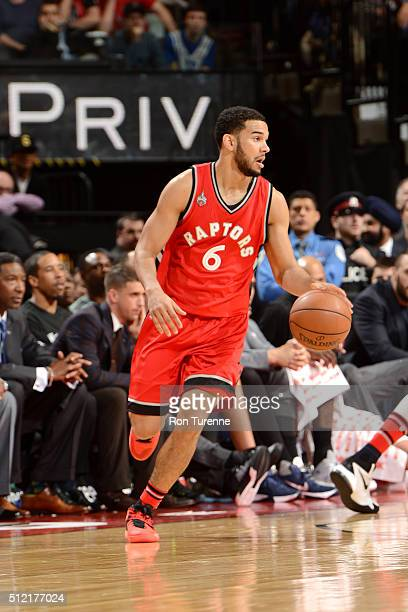Cory Joseph of the Toronto Raptors handles the ball during the game against the Minnesota Timberwolves on February 24 2016 at the Air Canada Centre...