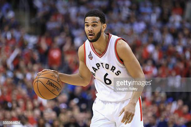Cory Joseph of the Toronto Raptors handles the ball during the second half against the Cleveland Cavaliers in game three of the Eastern Conference...