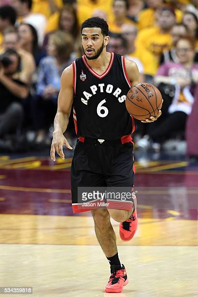 Cory Joseph of the Toronto Raptors handles the ball in the second half against the Cleveland Cavaliers in game five of the Eastern Conference Finals...