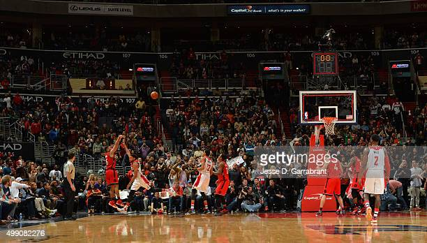 Cory Joseph of the Toronto Raptors hits the game winning shot as time expires during the game against the Washington Wizards on November 28 2015 at...