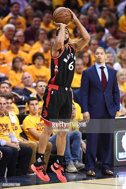 Cory Joseph of the Toronto Raptors shoots in the fourth quarter against the Cleveland Cavaliers in game five of the Eastern Conference Finals during...