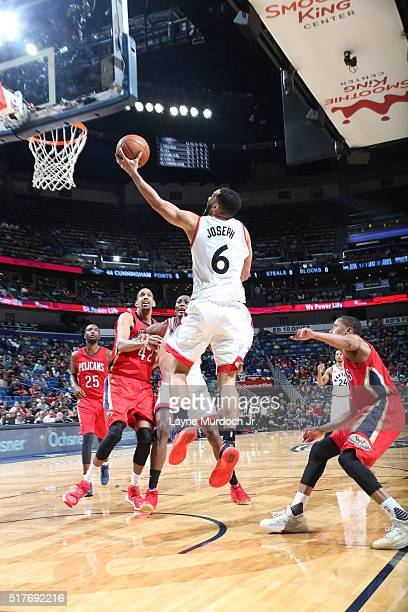 Cory Joseph of the Toronto Raptors shoots the ball against the New Orleans Pelicans on March 26 2016 at Smoothie King Center in New Orleans Louisiana...