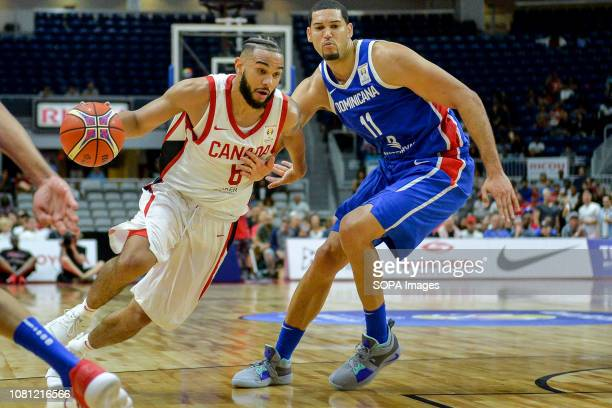 Cory Joseph seen in action during the Canada national team vs Dominican Republic national team in the FIBA Basketball World Cup 2019 Qualifiers at...