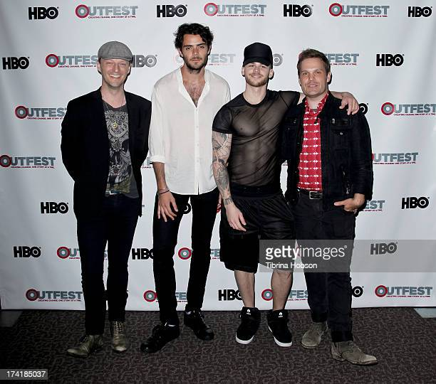 Cory Krueckeberg Tanner Cohen Matthew Camp and Tom Gustafson attend the 2013 Outfest Film Festival screening of 'The Go Doc Party' at Directors Guild...