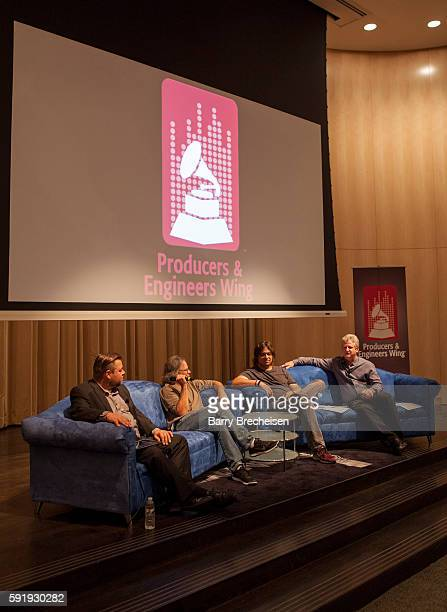 Cory Lorentz of Shure record producers Terry Date and Nick Raskulinecz with Shure's Mark Brunner during the GRAMMY Behind the Glass with Terry Date...
