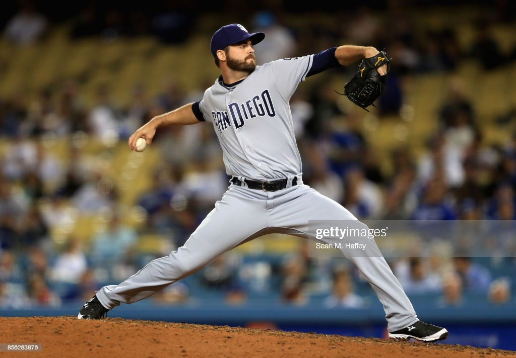 Cory Mazzoni #60 of the San Diego Padres pitches during a game at Dodger Stadium on September 26, 2017 in Los Angeles, California.