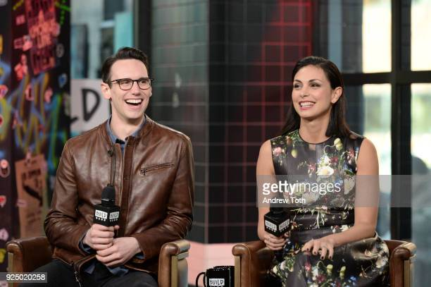"""Cory Michael Smith and Morena Baccarin visit Build to discuss the TV series """"Gotham"""" at Build Studio on February 27, 2018 in New York City."""