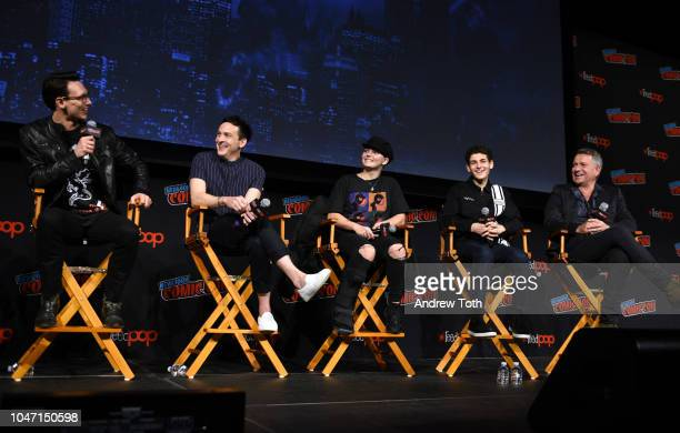 Cory Michael Smith, Robin Taylor, Camren Bicondova, David Mazouz and Sean Pertwee speak onstage at the Gotham Special Video Presentation and Q&A...