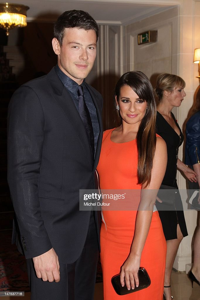 Cory Monteith and Lea Michele arrive the Versace Haute-Couture Show as part of Paris Fashion Week Fall / Winter 2012/13 on July 1, 2012 in Paris, France.